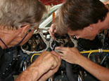 Maintenance on the aircraft engines in Yap.